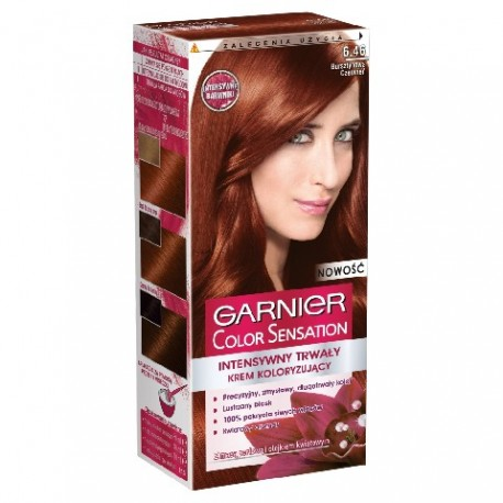 Garnier Color Sensation Krem koloryzujący 6.46 Red Brown- Bursztynowa czerwień