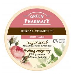Green Pharmacy Peeling cukrowy  Róża piżmowa, Zielona Herbata  300ml