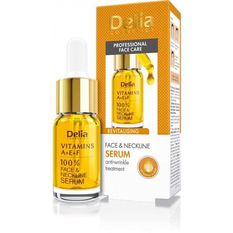Delia Cosmetics Professional Face Care Serum do twarzy,szyi i dekoltu Witaminy A,E i F  100%  10ml