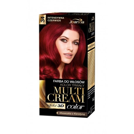 Joanna Multi Cream Color Farba nr 34 Intensywna Czerwień