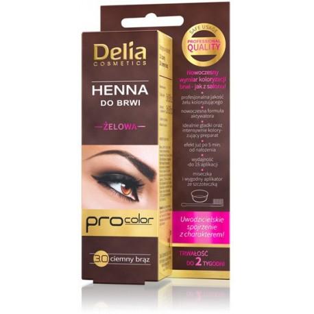 Delia Cosmetics Henna do brwi żelowa 3.0 ciemno brązowa  1op