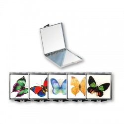 Top Choice Makijaż Lusterko kieszonkowe Butterfly kwadratowe (85420)  1szt