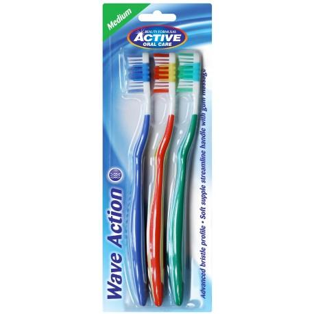 Beauty Formulas Active Oral Care Szczoteczka Wave Action średnia  1 op.-3szt