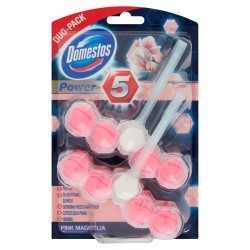 Domestos Pink Magnolia DUO Kostka WC Power 5 koszyk  2 x 55g