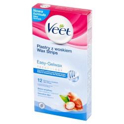 Veet Plastry do depilacji z woskiem dla skóry wrażliwej 1 op.-12szt