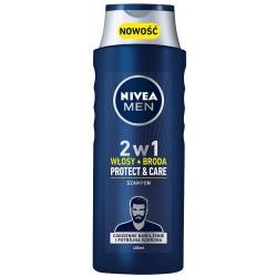 NIVEA Men Szampon 2w1 Protect&Care Włosy+broda for men  400ml