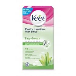 Veet Plastry z woskiem do depilacji ciała Easy-Gelwax - skóra sucha  1op-12szt