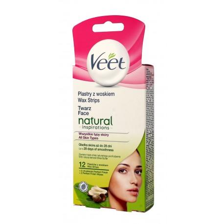Veet Plastry z woskiem do depilacji twarzy Natural Inspirations - skóra każdego typu  1op-12szt