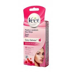 Veet Plastry z woskiem do depilacji twarzy Easy-Gelwax - skóra normalna  1op-20szt