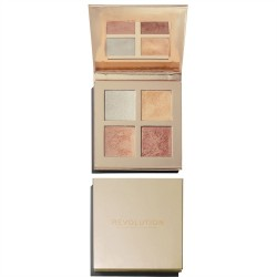 Makeup Revolution, Paleta rozświetlaczy Face Quad Incandescent, 14 g