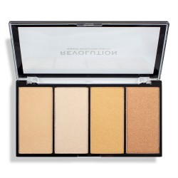 Makeup Revolution Re-Loaded Paleta rozświetlaczy Lustre Lights Warm  1szt
