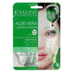 Eveline Sheet Mask Aloe Vera Maska na tkaninie 8in1 łagodząco-odświeżająca  1szt