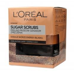 Loreal Sugar Scrubs Peeling do twarzy przeciw oznakom zmęczenia 3 cukry+ziarna kawy  50ml
