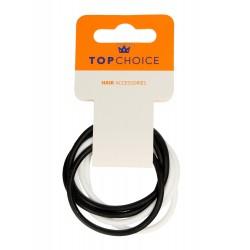 Top Choice Gumki do włosów silikonowe białe i czarne (22791)  1op.-6szt