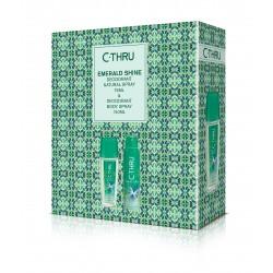 C-THRU Zestaw prezentowy Emerald Shine (Deo spray 150 ml + Deo naturalny spray 75ml)