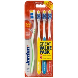 Jordan Szczoteczka do zębów Total Clean średnia  mix kolorów 1op.- 4szt.