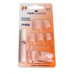 Top Choice Sztuczne paznokcie z klejem OMBRE (78019)  1op.