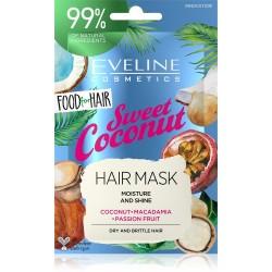 Eveline Food for Hair Sweet Coconut Maska do włosów normalnych i cienkich  - nawilżenie i połysk  20ml