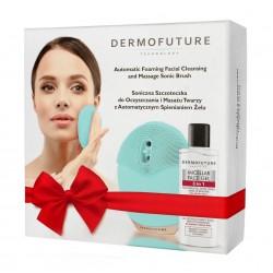 Dermofuture Technology Szczoteczka soniczna do twarzy ze spieniaczem zielona + żel  1op.