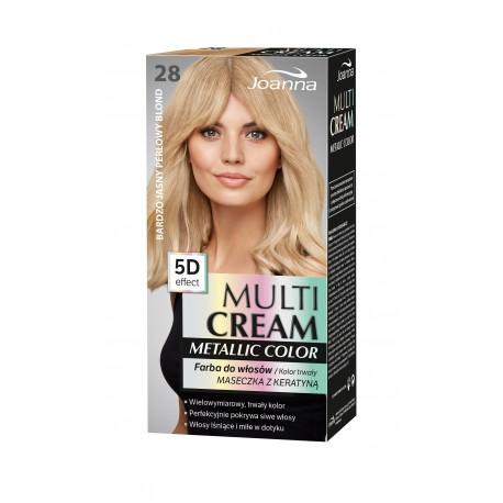 Joanna Multi Cream Metallic Color Farba do włosów nr 28 Bardzo Jasny Perłowy Blond 1op.