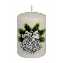 ARTMAN Boże Narodzenie Świeca ozdobna Świąteczne Dzwonki - walec mały szary 1szt