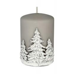 ARTMAN Boże Narodzenie Świeca ozdobna Zimowe Drzewka - walec mały szary 1szt