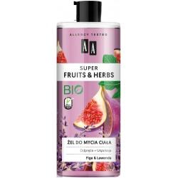 AA Super Fruits & Herbs Żel do mycia ciała odprężająco-uspokajający Figa i Lawenda  500ml