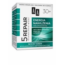 AA Technologia Wieku 5Repair 30+ Energia Nawilżenia Nocny Krem wygładzająco-antyoksydacyjny  50ml