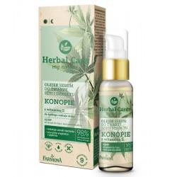 Farmona Herbal Care Olejek Serum do twarzy,szyi i dekoltu - Konopie z witaminą E  50ml