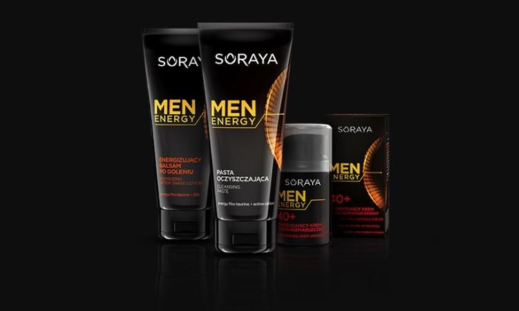 Męska linia Soraya Men Energy pobudzi gospodarkę energetyczną Twojej skóry.